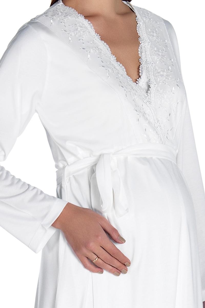 Комплект для беременных и кормящих с халатом и сорочкой 08539 экри