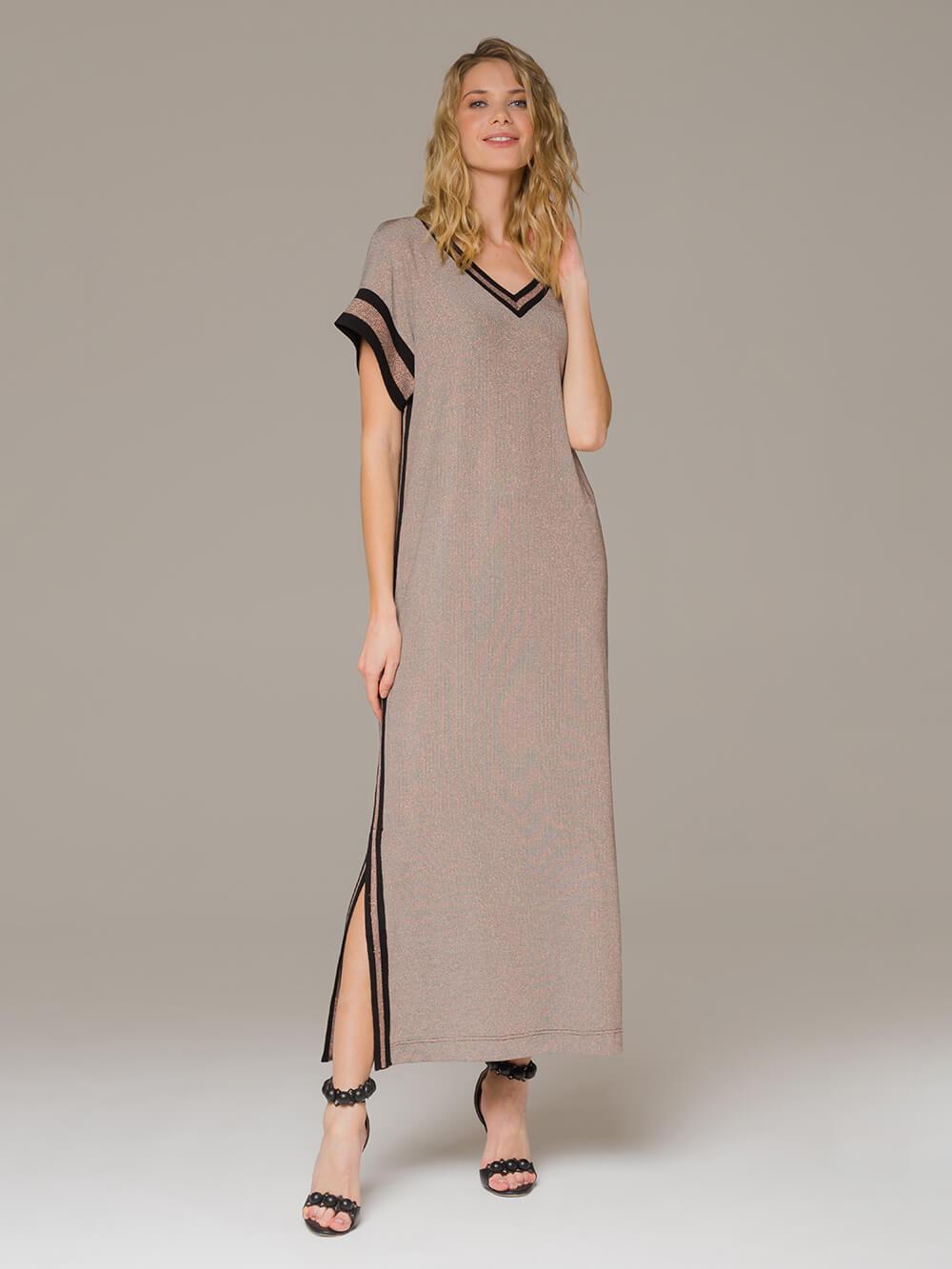 Женское платье медного цвета с разрезами - фото 1