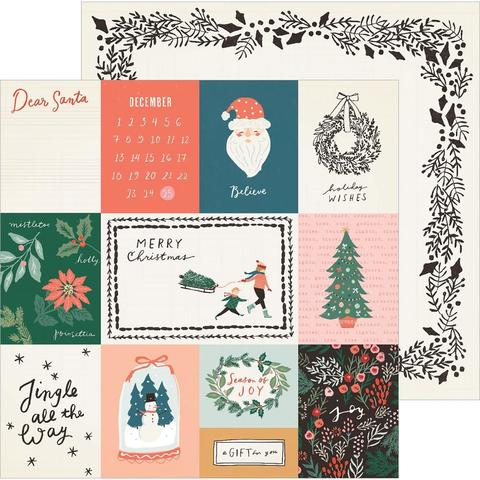 Лист двусторонней бумаги 30х30см - Merry Days Crate Paper -Sleigh Ride