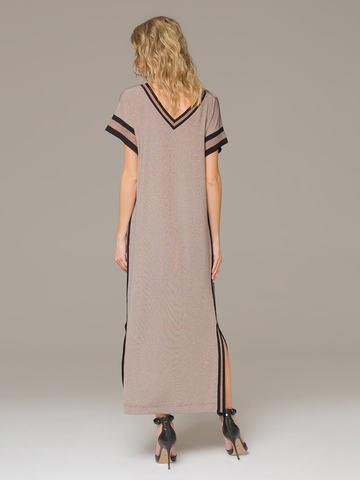 Женское платье медного цвета с разрезами - фото 3