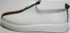 Кожаные кроссовки без шнурков New Malange M970 white.