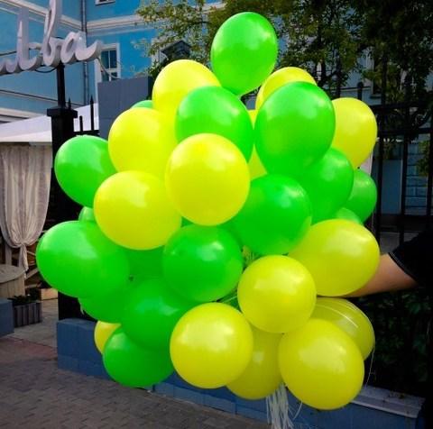 Воздушные шары с гелием Желто-зеленые