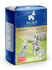 Pet Soft одноразовые впитывающие подгузники для животных размер M 12 штук