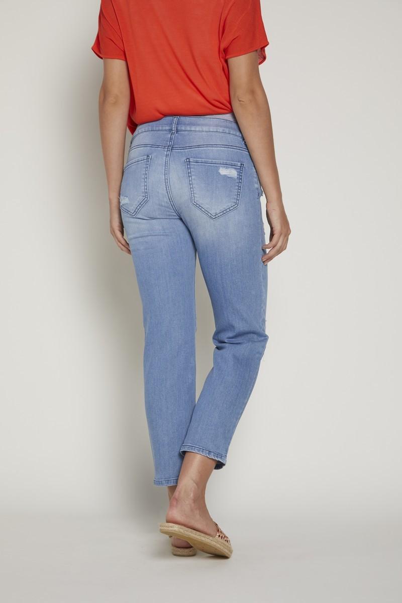 Фото джинсы для беременных GEBE, укороченные, широкий бандаж от магазина СкороМама, голубой, размеры.