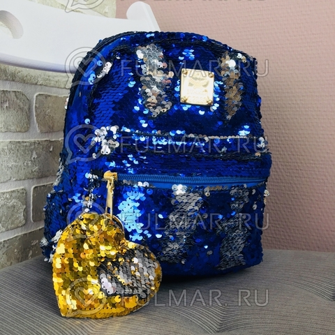 Рюкзак детский с двусторонними пайетками меняет цвет Синий-Серебристый и брелок Сердце (24х20х10 см) Классика