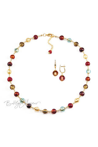 Комплект Carnavale Oro (розовые серьги на серебре, ожерелье)