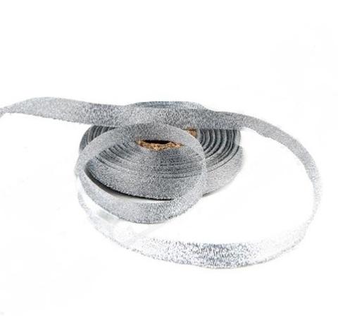 Лента парча (размер:13мм х 25ярд), цвет:серебро
