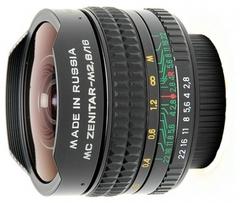 Объектив Зенит МС Зенитар-М 16mm f/2.8 Fisheye c байонетом под резьбу M42