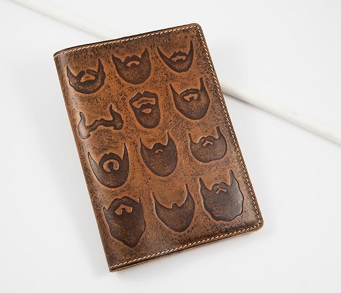 Прикольная обложка на паспорт с изображением бород, тиснение
