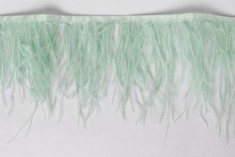 Тесьма  из перьев страуса h 10-15 см., дымчатый  ментол