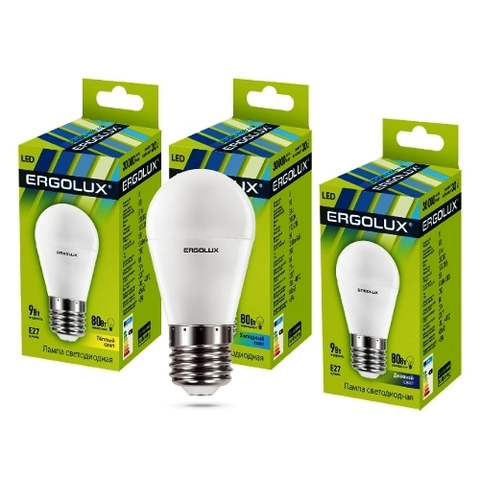 Лампа Ergolux LED-G45-9W-Е27-4K шар (холодный свет)