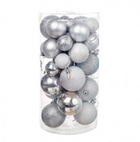 Набор шаров 36шт. (пластик), D3-5см, цвет: серебро