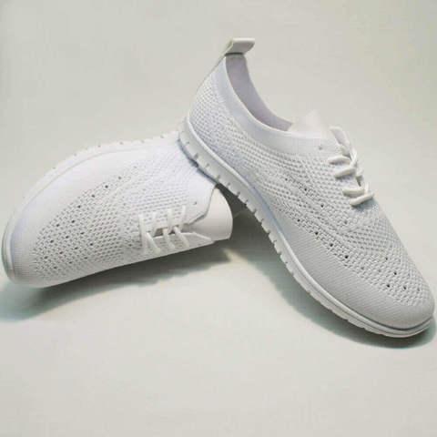 Белые текстильные кроссовки женские Small Swan NB-821 All White.