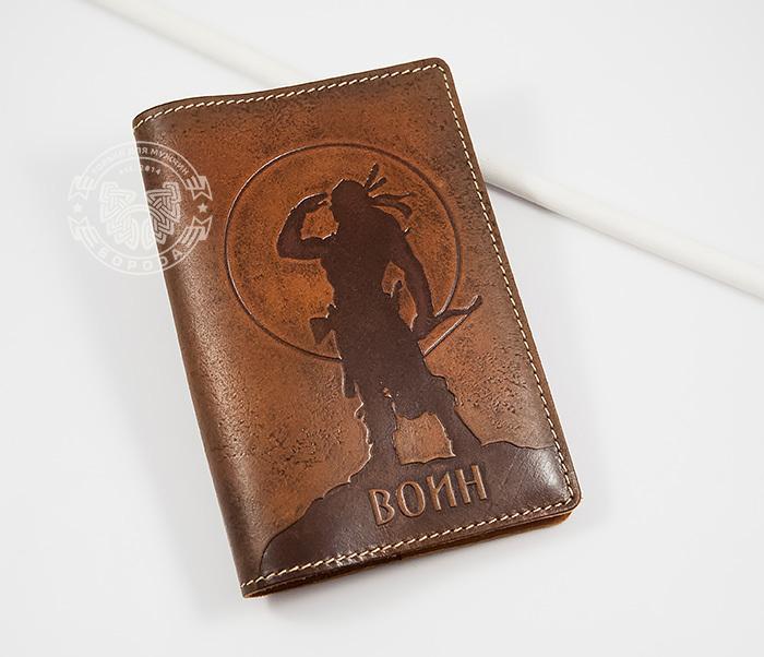 Оригинальная обложка на паспорт «Воин», натуральная кожа