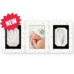 Ручки-Ножки Набор для слепков Рамочка «Лайт» тройная складная (белая со звездочками) (RM4Z)