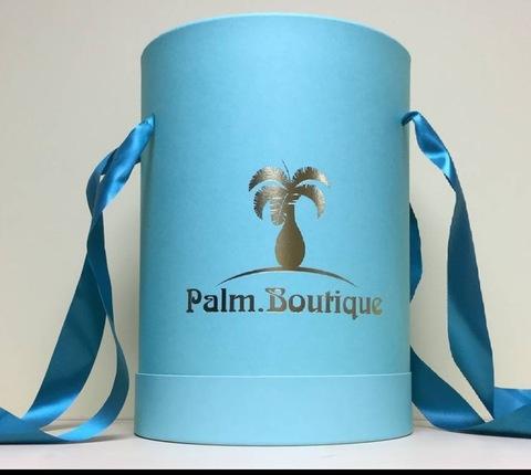 Коробка шляпная Palm.Boutique цвет бирюзовый с золотым тиснением