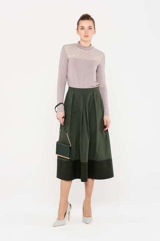 Фото однотонная пышная юбка колокол с боковыми карманами - Юбка Б123а-135 (1)