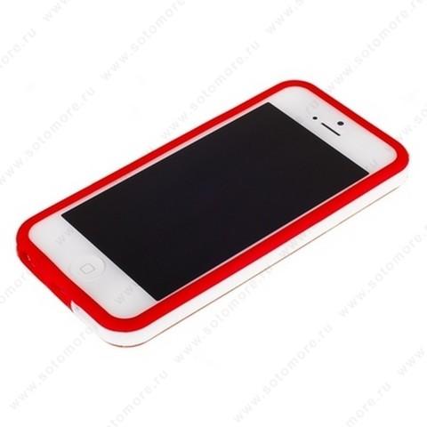 Бампер для iPhone SE/ 5s/ 5C/ 5 красный с белой полосой