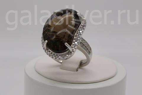 Кольцо с раухтопазом и цирконами из серебра 925