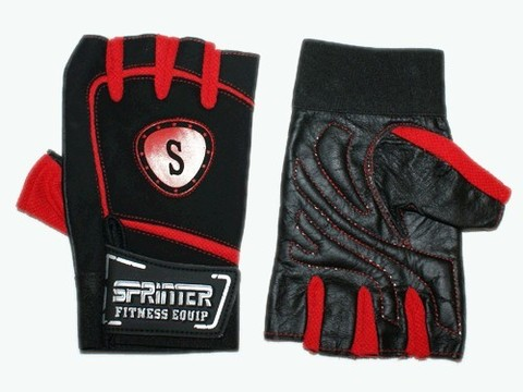 Перчатки для тяжёлой атлетики с напульсником. Цвет: красно-чёрный. Материал: кожа, замша, ткань. Размер S. :(B):