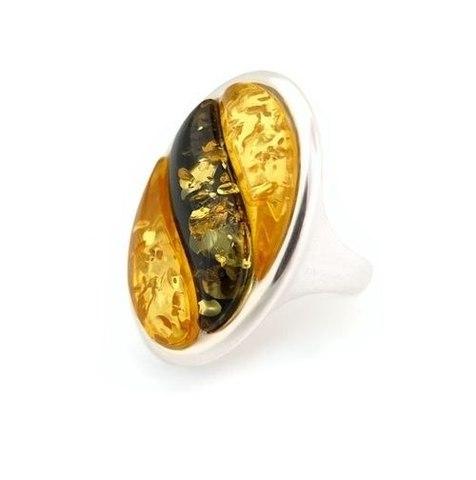 кольцо с янтарём в серебре
