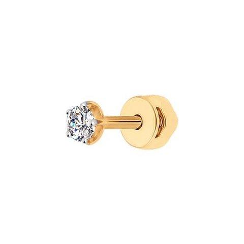 170023-Одиночная серьга-пусет из золота 585 пробы