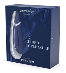 Бесконтактный клиторальный стимулятор Womanizer Premium синий/хром