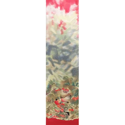 Шелковый шарф батик Снегири С-58