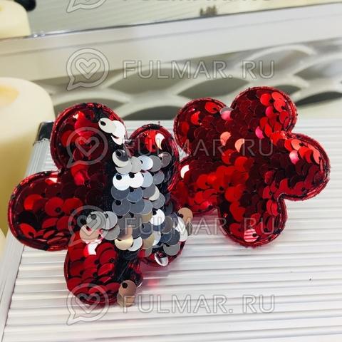 Набор резинки для волос с двусторонними пайетками меняют цвет Красный-Серебристый Цветочки (2 шт.)
