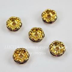 Бусина - рондель 8х4 мм с фиолетовыми фианитами (цвет - золото), 5 штук