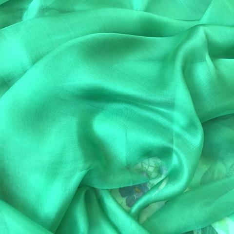 Шифон шелковый сочный зеленый 1130
