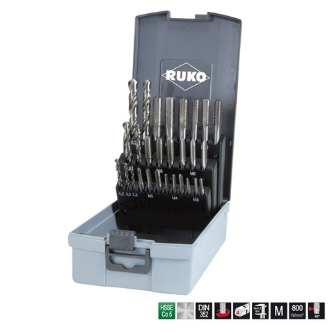 Набор метчиков комплектных М3-М12 29пр DIN352 HSSE-Co5 Ruko 245003ERO