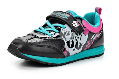 Кроссовки Монстер Хай (Monster High) на липучке для девочек, цвет черный. Изображение 2 из 8.