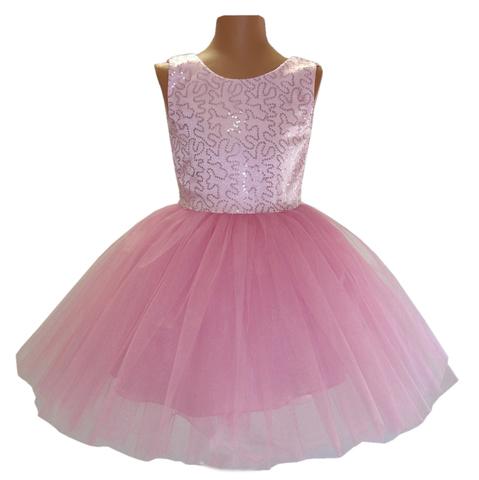 Платье розовое с пайетками для малышек
