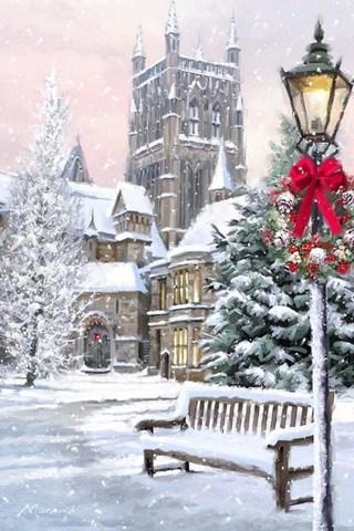 Картина раскраска по номерам 40x50 Заснеженный город