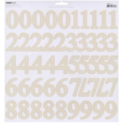Лист стикеров с цифрами 30*30см Kaisercraft Number Stickers - Ivory