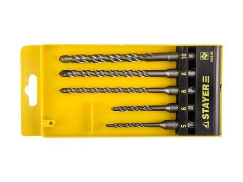 STAYER Набор буров SDS-plus 5 шт: 5 x 110, 6 x 110, 6 x 160, 8 x 160, 10 x 160 мм, Professional