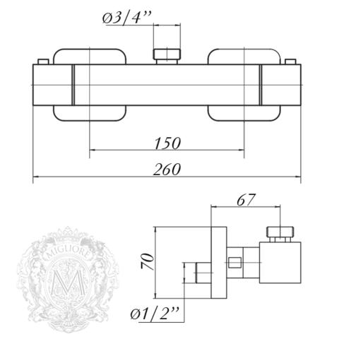 Смеситель для душа термостатический Migliore Kvant ML.KVT-2776 схема