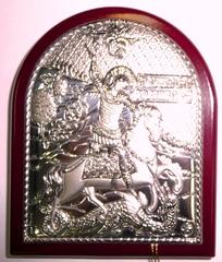 Серебряная икона Святого Георгия Победоносца 8,5х7см
