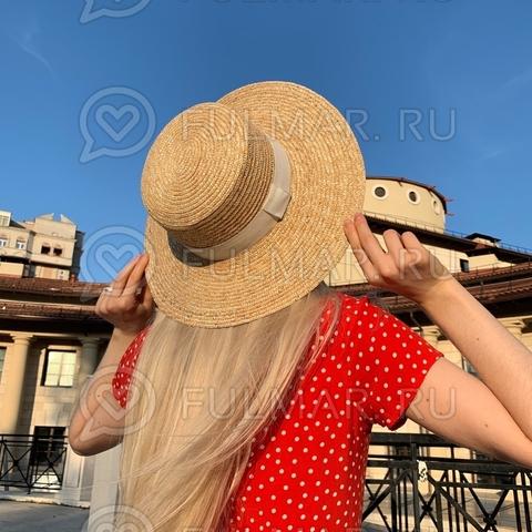 Соломенная шляпа-канотье Классическая белая лента