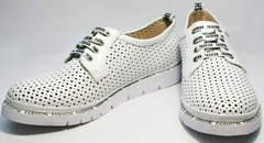 Легкие летние туфли белые большого размера женские GUERO G177-63 White