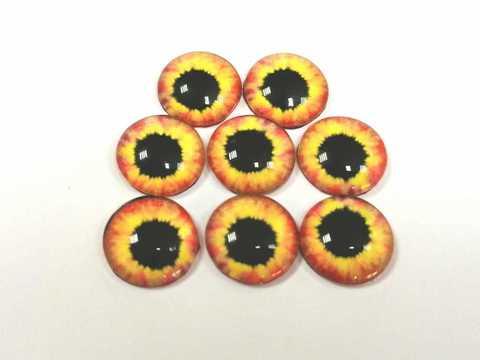Глазки стеклянные,  10мм, желтые. 1уп-8шт. (1161)