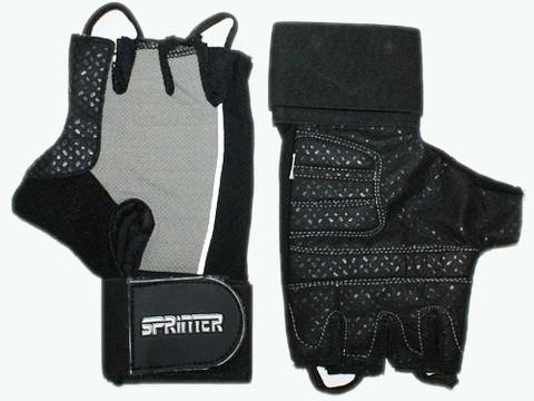Перчатки для тяжёлой атлетики с напульсником. Цвет: чёрно-серый. Материал: кожа, замша. Размер S. :(A):