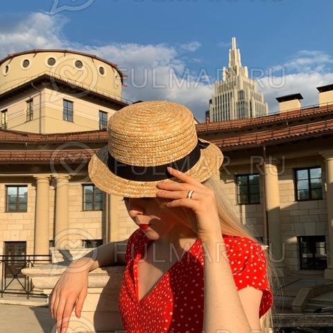 Соломенная канотье женская шляпа с чёрной лентой бантиком Классика