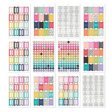 Стикербук - Carpe Diem A5 Planner Sticker Tablet- Tabs/Labels/Reinforcers, 522 шт