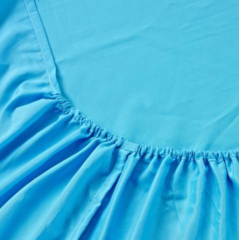 Простынь на резинке Valtery Джерси L Голубая, вид 3