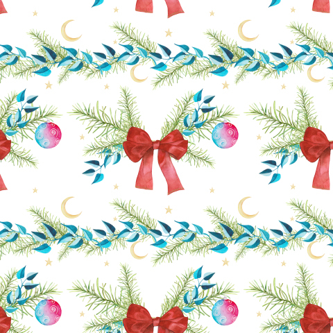 Christmas seamless pattern. Christmas tree branches, red bow on a white background.