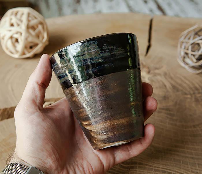 CUP105-2 Крупный керамический стакан ручной работы фото 04