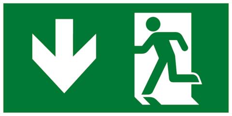 Комбинированный эвакуационный знак - Выход здесь левосторонний с направляющей стрелкой