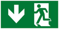 Е40 Выход здесь левосторонний - современный эвакуационный знак